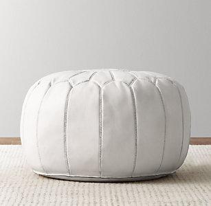 Moroccan Leather Round Pouf White