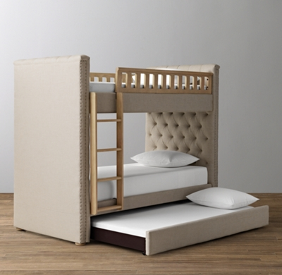 Chesterfield Tufted Bunk Bed With Trundle