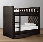 Chesterfield Tufted Leather 2-Drawer Storage Bunk Bed