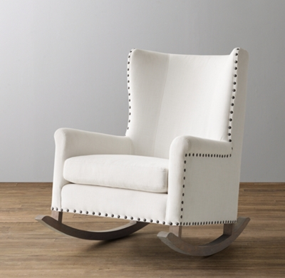 lion head rocking chair with arms wingback upholstered nailhead rocker