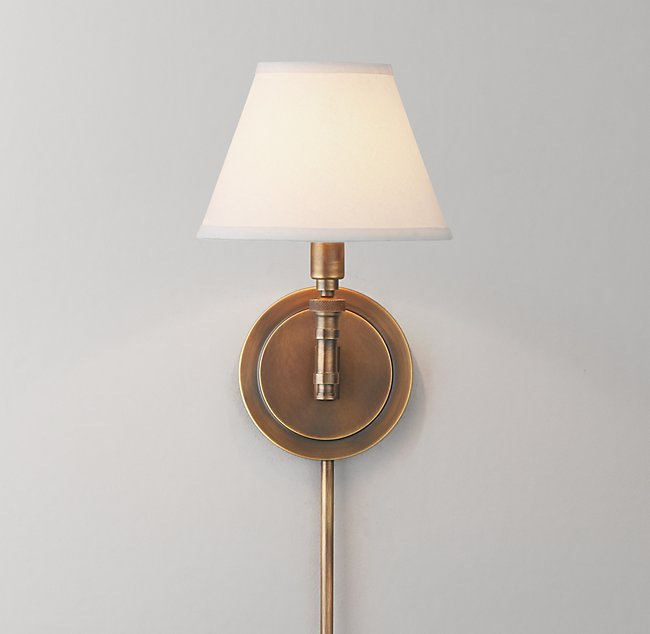petite ellis swing arm sconce with shade antiqued brass