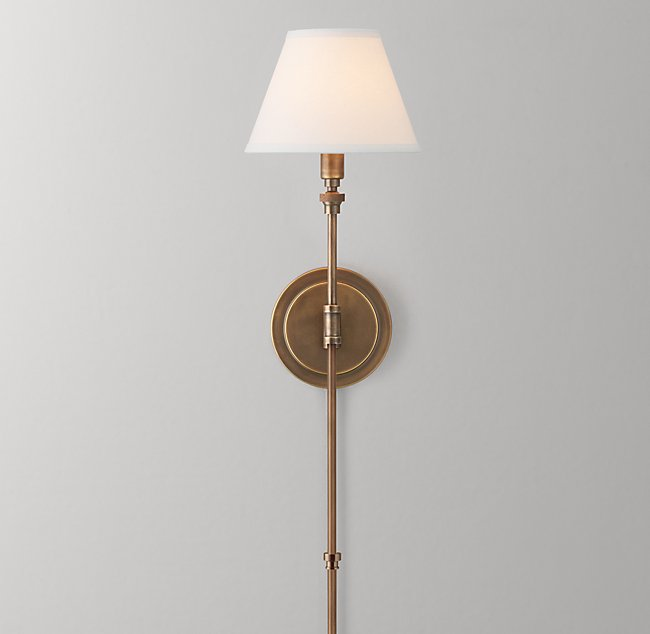 ellis swing arm sconce with shade antiqued brass