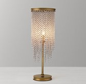 Athena Crystal Table Lamp - Antiqued Brass/Clear