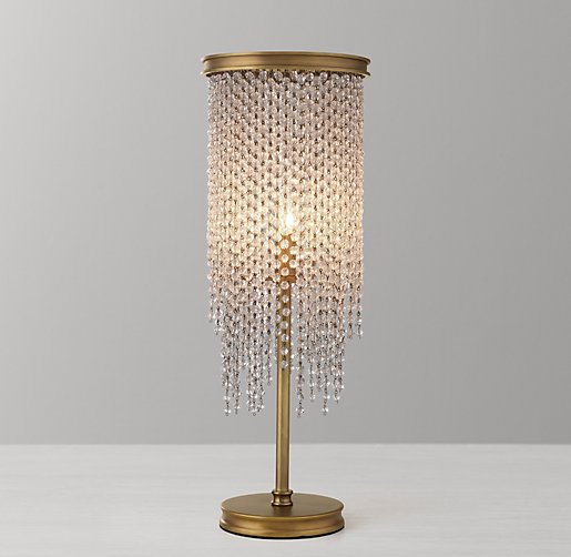 Athena Crystal Table Lamp Antiqued Brass Clear