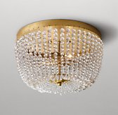 Dauphine Crystal Flushmount - Antiqued Gold