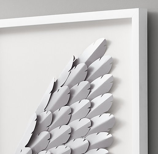 Hand Folded Paper Angel Wing Art Pewter