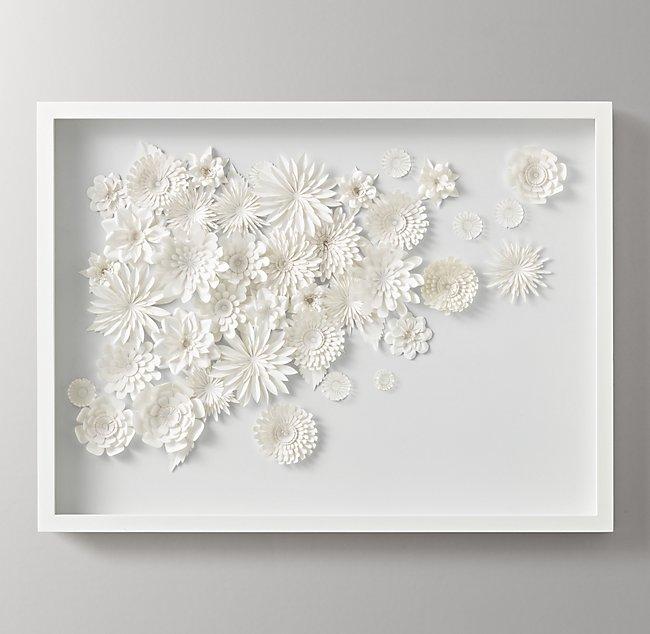 Hand Folded Paper Flower Art Large White