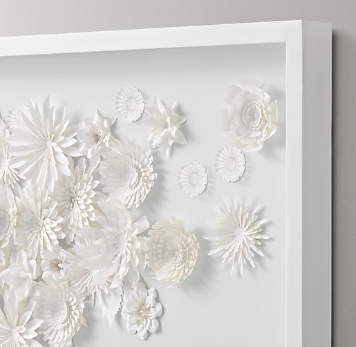 Hand Folded Paper Flower Art Large White