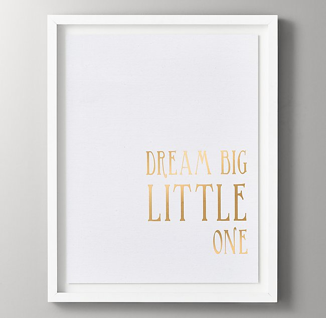 Quotes Gold Metallic Foil Art - Dream Big Little One