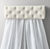 Tufted Linen Canopy Bed Crown
