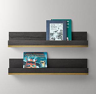 Metal-Trimmed Wood Book Display Shelf - Mocha