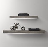 Metal-Trimmed Floating Wood Shelf - Ash