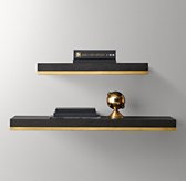 Metal-Trimmed Floating Wood Shelf - Mocha