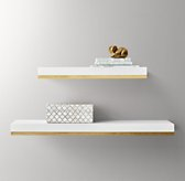 Metal-Trimmed Floating Wood Shelf - White