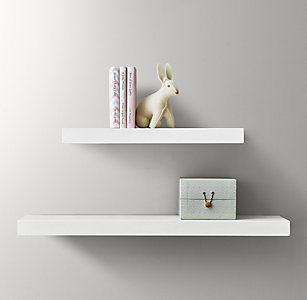 Floating Wood Shelf White