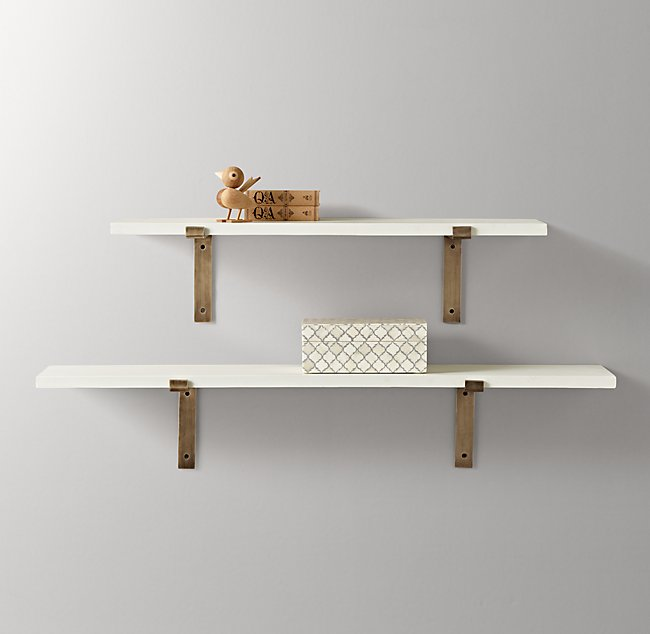 Admirable Industrial Plank Shelf White Beutiful Home Inspiration Ommitmahrainfo
