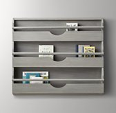 Large Weathered Wall Bookrack - Grey