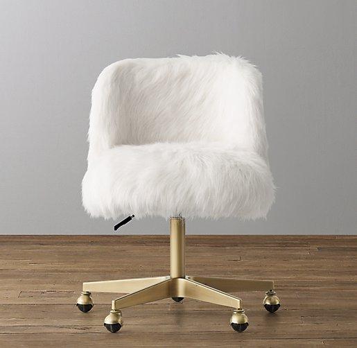 Alessa White Kashmir Faux Fur Desk Chair Antiqued Brass
