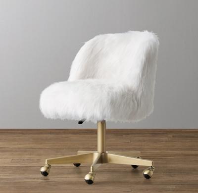 Stupendous White Fluffy Desk Chair Fuzzy Sheepskin Stool Reviews Cb2 Machost Co Dining Chair Design Ideas Machostcouk