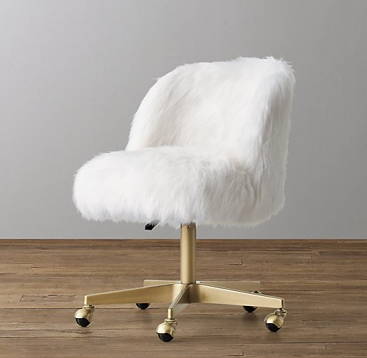 Alessa White Kashmir Faux Fur Desk Chair Antiqued Brass