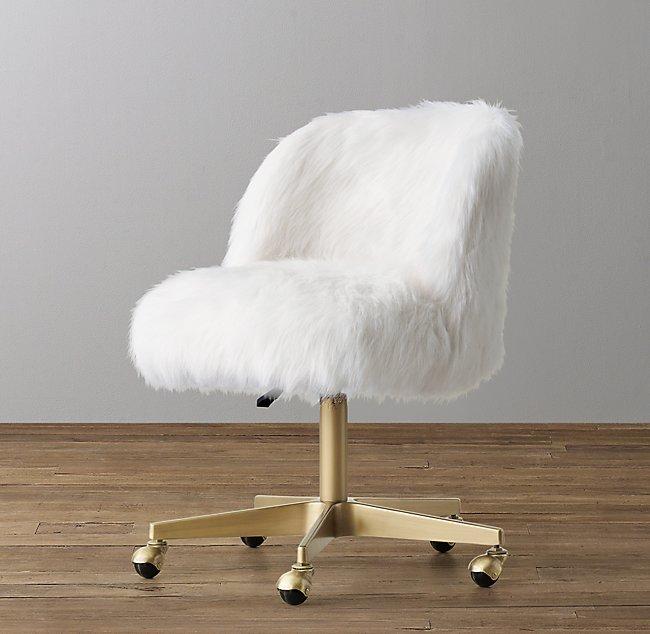 Fine Alessa Kashmir Faux Fur Desk Chair Antiqued Brass Theyellowbook Wood Chair Design Ideas Theyellowbookinfo