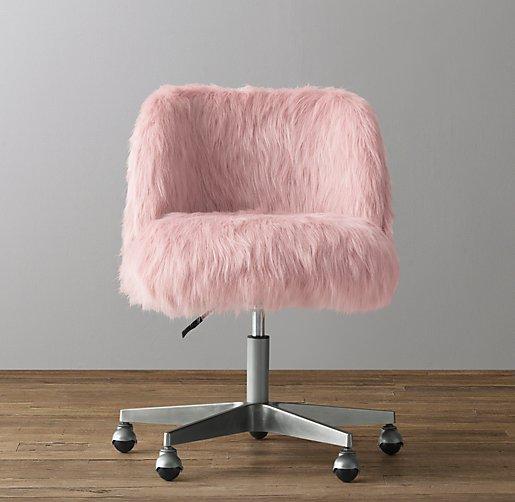 Alessa Dusty Rose Kashmir Faux Fur Desk Chair Pewter