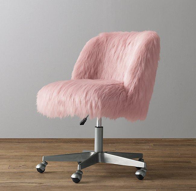 Alessa Kashmir Faux Fur Desk Chair Pewter