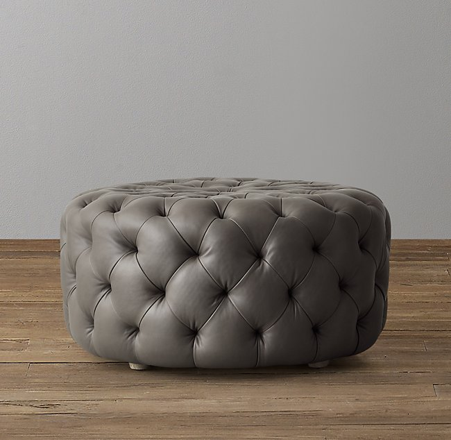 Remarkable Linden Tufted Round Leather Ottoman Forskolin Free Trial Chair Design Images Forskolin Free Trialorg