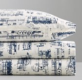 Vintage Train Blueprint Pillowcase