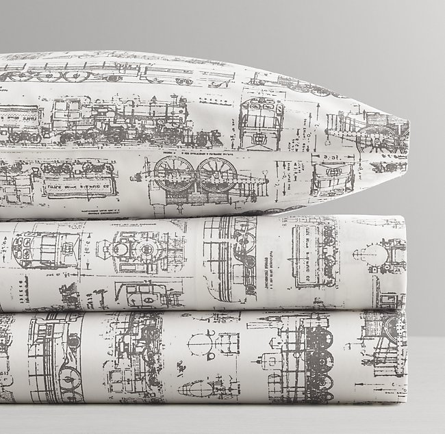 Vintage train blueprint crib fitted sheet malvernweather Image collections