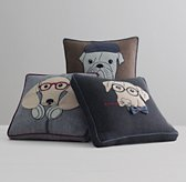 Appliquéd Downtown Dog Pillow Cover & Insert