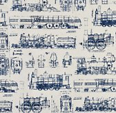 Vintage Train Blueprint Bedding Swatch