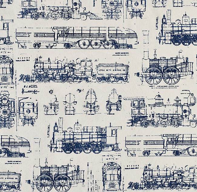 Vintage train blueprint bedding swatch malvernweather Gallery