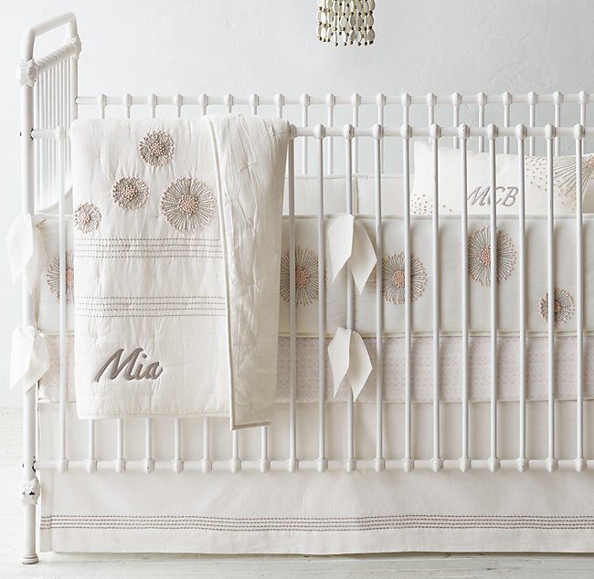 Hand Embroidered Dandelion Ultra Fine Organic Cotton Arrows Nursery Bedding Collection