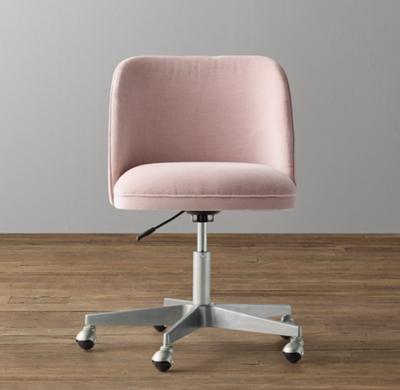 alessa velvet desk chair - pewter