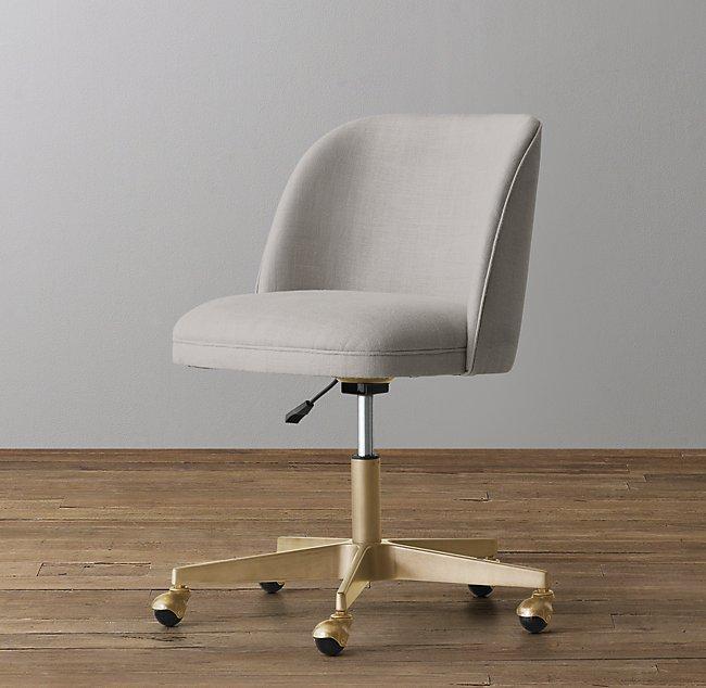 alessa upholstered desk chair antiqued brass