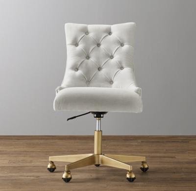 martine adjustable velvet desk chair - antiqued brass