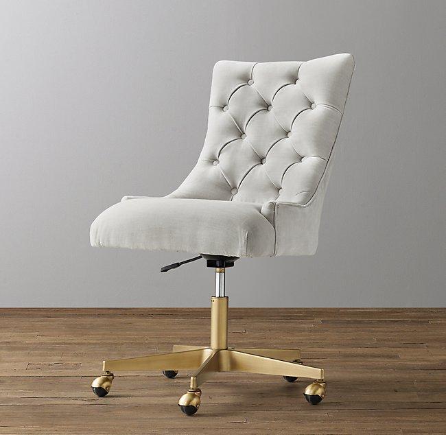 Terrific Martine Adjustable Velvet Desk Chair Antiqued Brass Forskolin Free Trial Chair Design Images Forskolin Free Trialorg