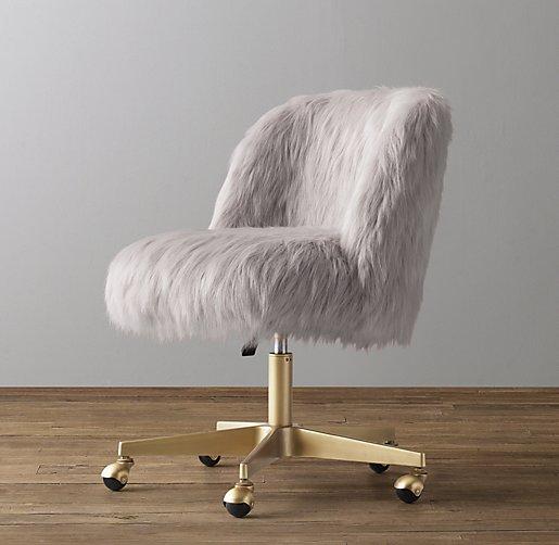 Alessa Kashmir Faux Fur Desk Chair Antiqued Brass