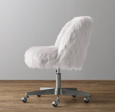 Phenomenal Alessa Kashmir Faux Fur Desk Chair Pewter Bralicious Painted Fabric Chair Ideas Braliciousco