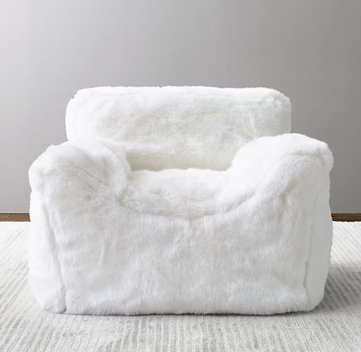 white bean bag chair Luxe Faux Fur Bean Bag Chair   White white bean bag chair