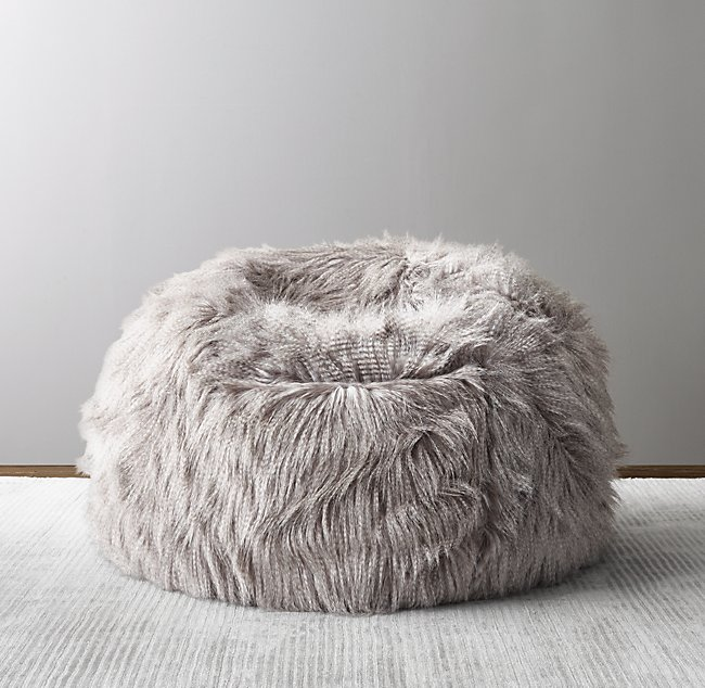 Enjoyable Luxe Faux Fur Bean Bag Owl Feather Squirreltailoven Fun Painted Chair Ideas Images Squirreltailovenorg