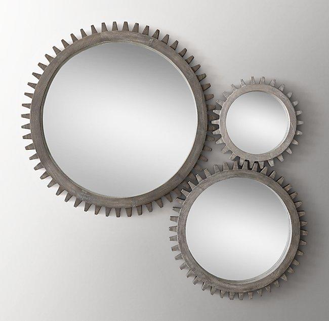 interlocking wood gear mirrors