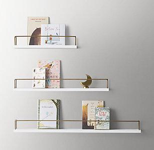 19a51c324c48 Minimalist Book Display Shelf - Waxed White/Brass