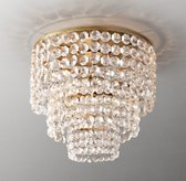Soho Crystal Large Flushmount - Antiqued Brass