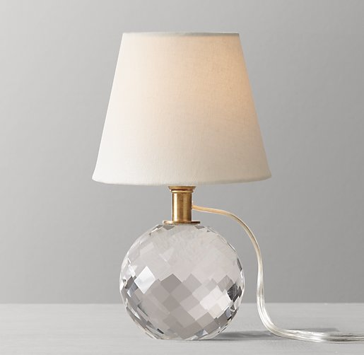 Mini Lourdes Crystal Ball Table Lamp With Shade Antiqued Brass