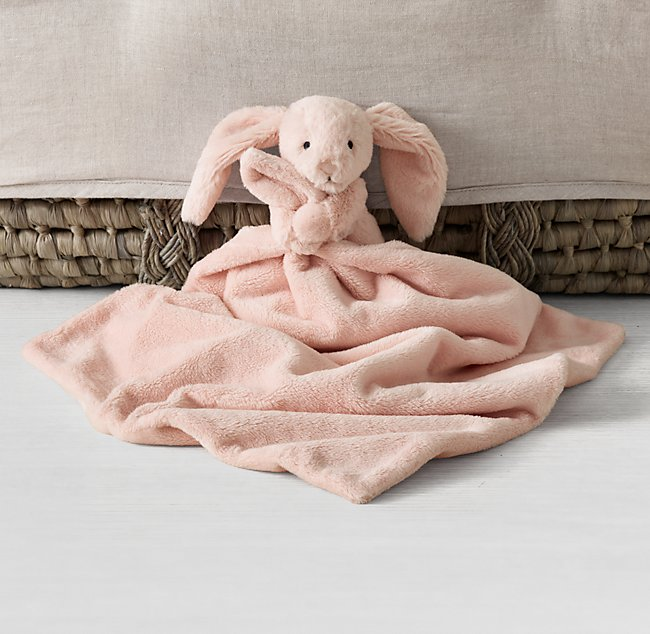 Personalised comforter blanket bunny Teddy  with  little blanket Pink Blue White