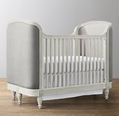 Belle Upholstered Crib - Aged White
