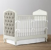 Colette Tufted Velvet Crib - Aged White