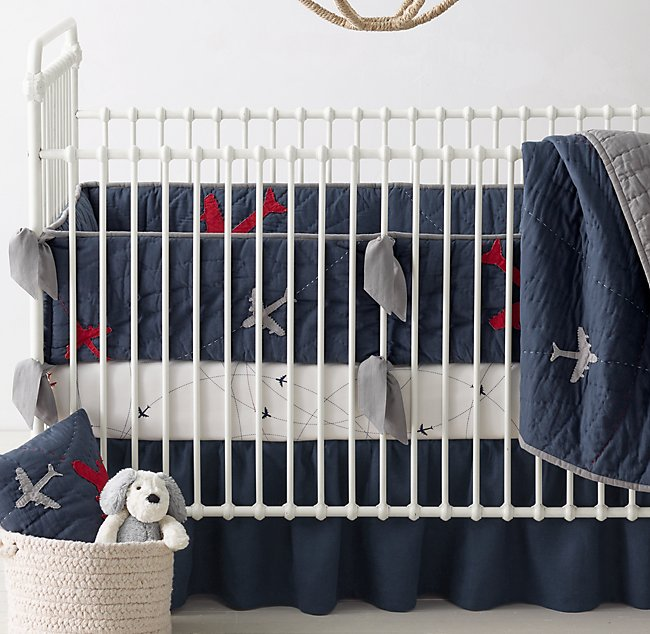 Vintage Washed Airplanes Airplane Route Nursery Bedding Collection